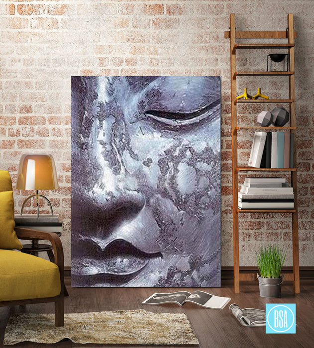 Meditation Buddha Painting - living room showcase