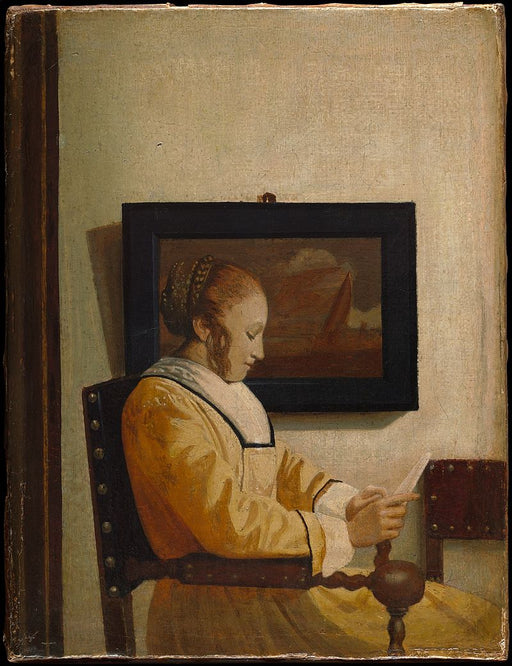 A Young Woman Reading by Johannes Vermeer Reproduction Painting by Blue Surf Art
