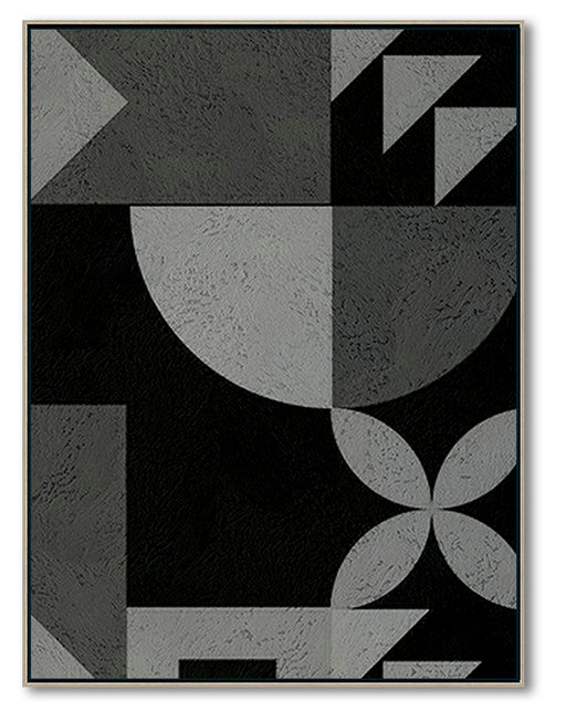 Modern Abstract Wall Art, Original Oil Painting, Geometry Black and White Living Room Wall Art Decor no. 101