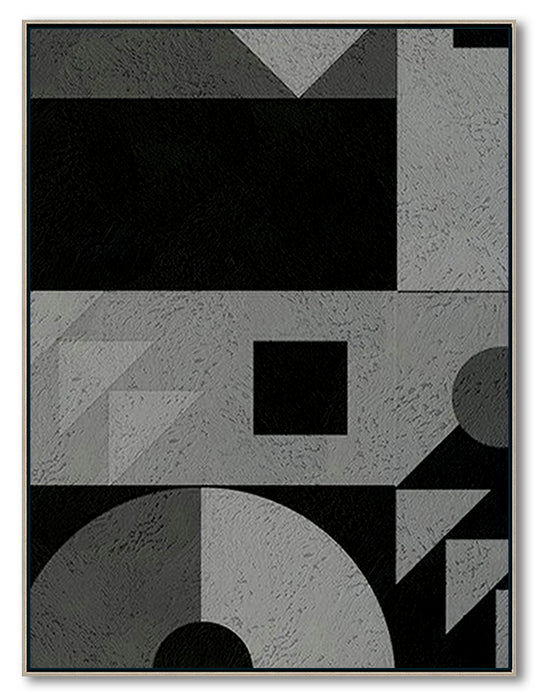 Modern Abstract Wall Art, Original Oil Painting, Geometry Black and White Living Room Wall Art Decor no. 102