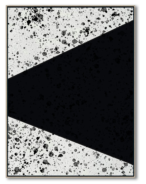 Modern Abstract Wall Art, Original Oil Painting, Geometry Black and White Living Room Wall Art Decor no. 106
