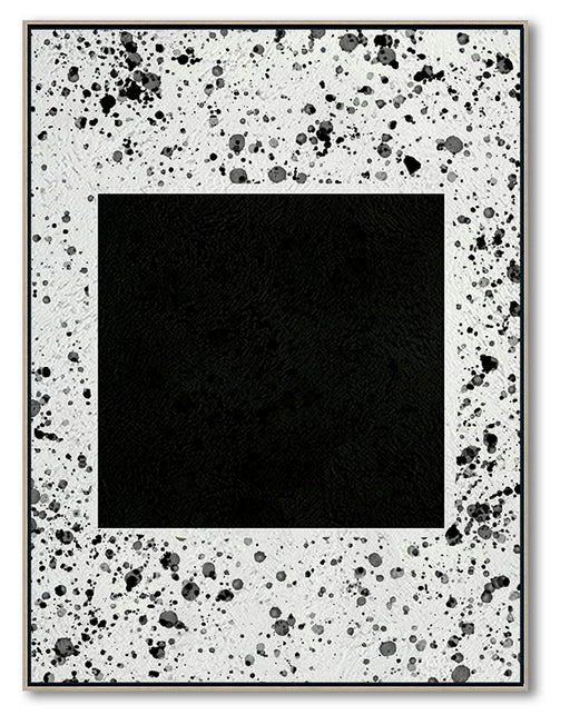 Modern Abstract Wall Art, Original Oil Painting, Geometry Black and White Living Room Wall Art Decor no. 107