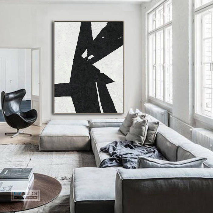 Copy of Large Abstract Painting, Black and White Minimal Portrait Canvas Art Painting 3