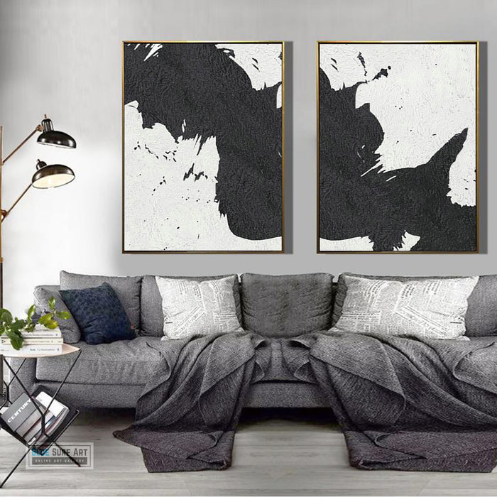 Extra Large Abstract Painting, Black and White Minimal Duo Portrait Canvas Art Painting