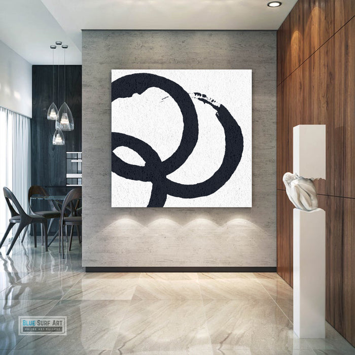 Oversized Circle Abstract Painting, Black and White Minimal Square Canvas Art Painting 6