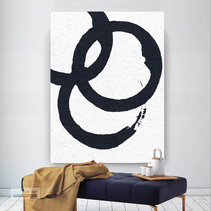 Oversized Circle Abstract Painting, Black and White Minimal Portrait Canvas Art Painting 1