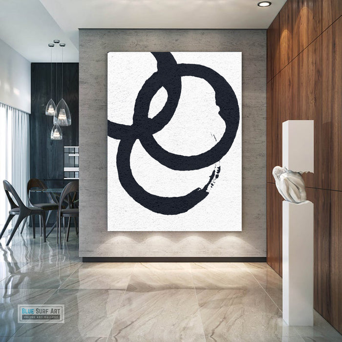 Oversized Circle Abstract Painting, Black and White Minimal Portrait Canvas Art Painting 4