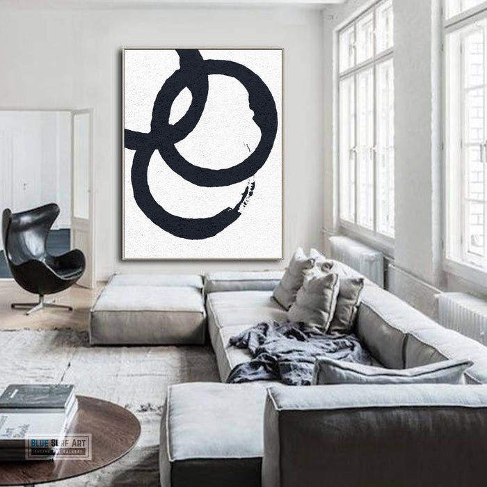 Oversized Circle Abstract Painting, Black and White Minimal Portrait Canvas Art Painting 2