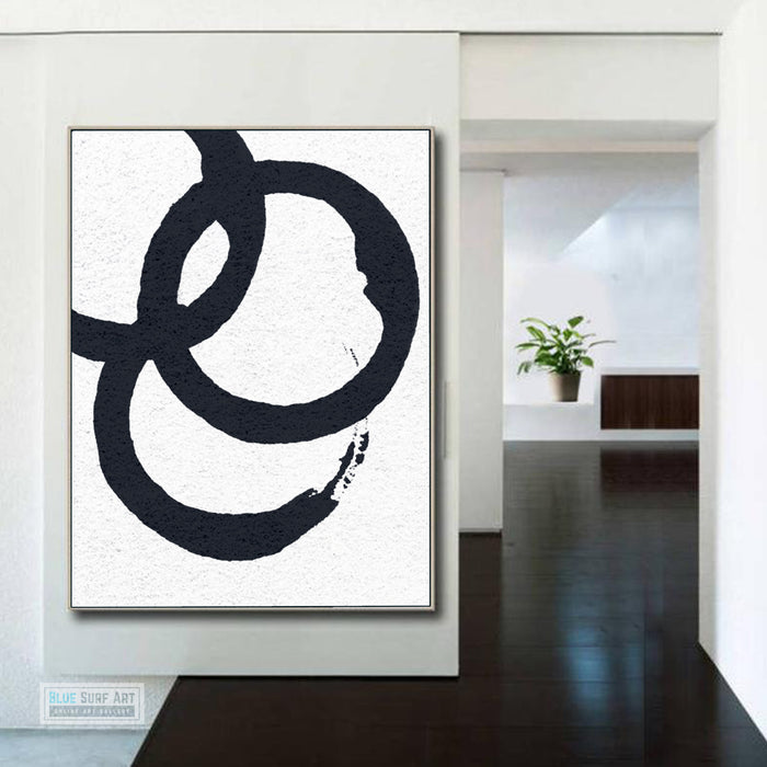 Oversized Circle Abstract Painting, Black and White Minimal Portrait Canvas Art Painting 3