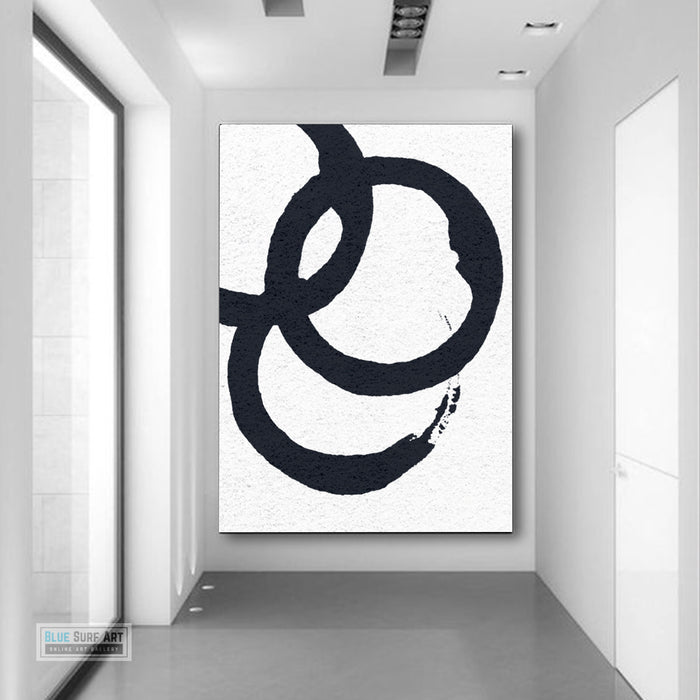 Oversized Circle Abstract Painting, Black and White Minimal Portrait Canvas Art Painting 5