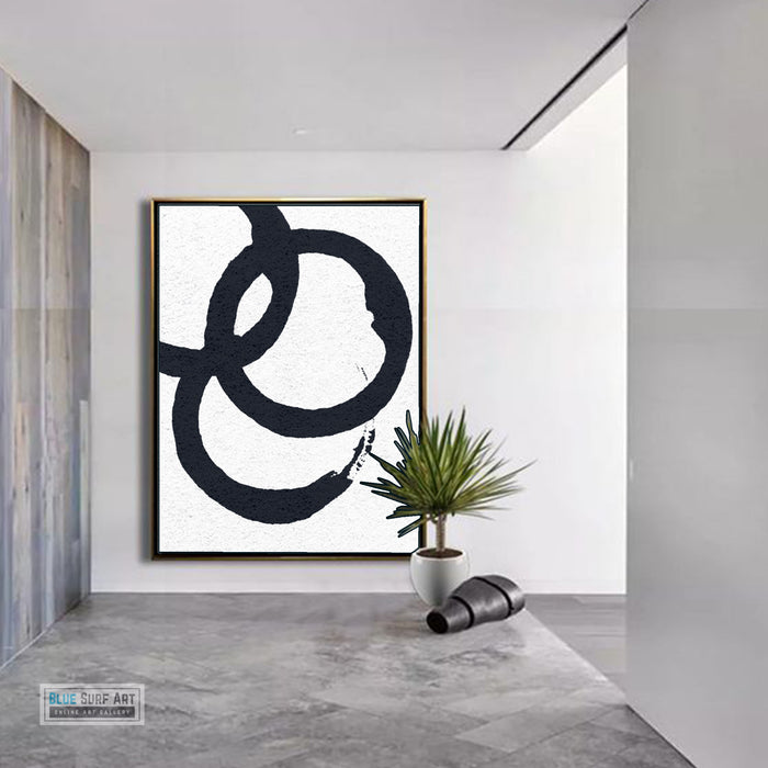 Oversized Circle Abstract Painting, Black and White Minimal Portrait Canvas Art Painting 6