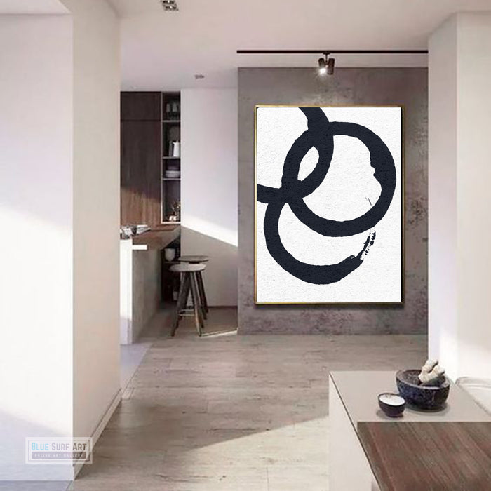 Oversized Circle Abstract Painting, Black and White Minimal Portrait Canvas Art Painting 7