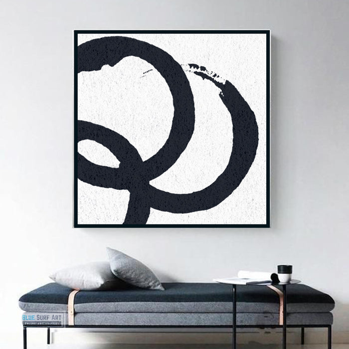 Oversized Circle Abstract Painting, Black and White Minimal Square Canvas Art Painting 1