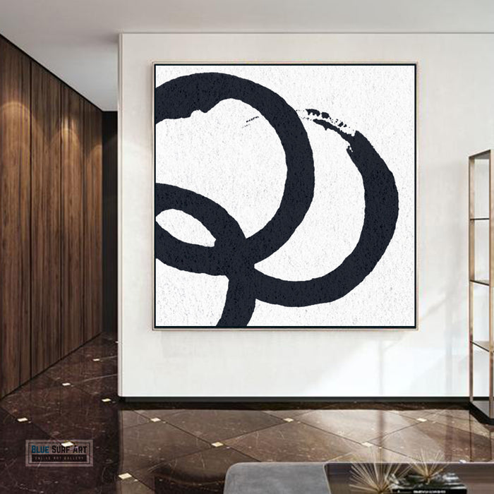 Oversized Circle Abstract Painting, Black and White Minimal Square Canvas Art Painting 4