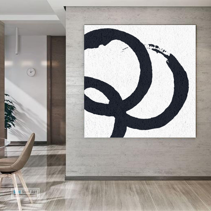 Oversized Circle Abstract Painting, Black and White Minimal Square Canvas Art Painting 3