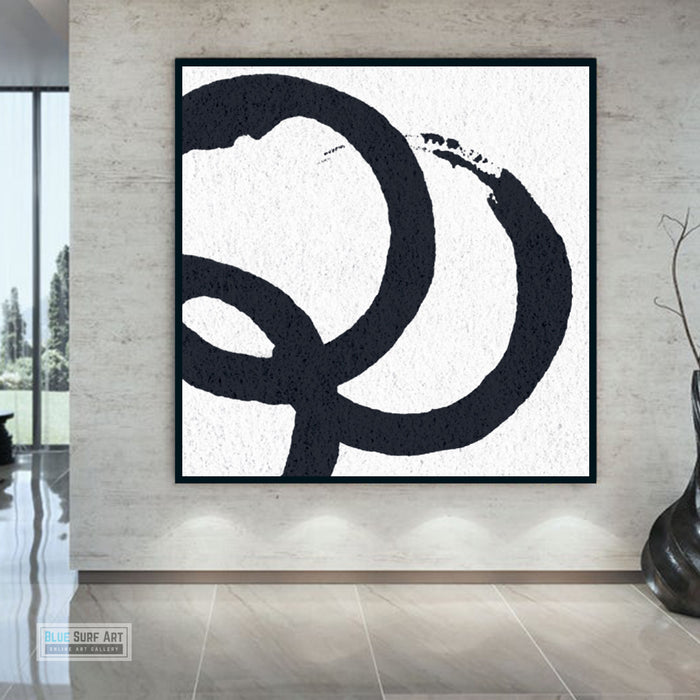 Oversized Circle Abstract Painting, Black and White Minimal Square Canvas Art Painting 2