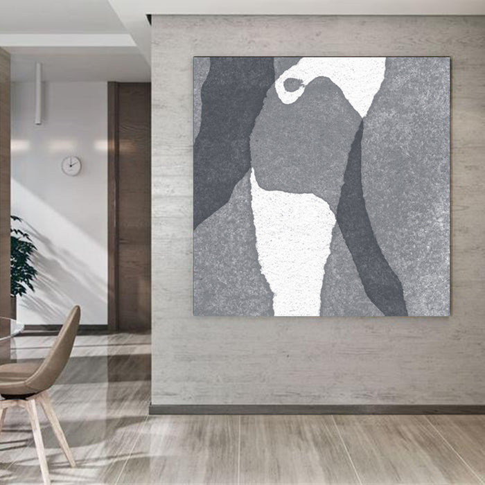 Large Abstract Painting Black & White Original Oil Painting on Canvas Square Dimension, Textured Art - modern house
