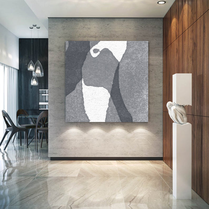 Large Abstract Painting Black & White Original Oil Painting on Canvas Square Dimension, Textured Art - showcase office