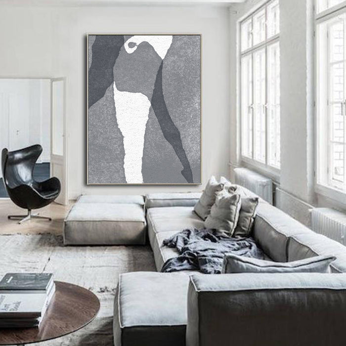 Large Abstract Painting Black & White Original Oil Painting on Canvas