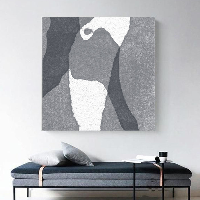 Large Abstract Painting Black & White Original Oil Painting on Canvas Square Dimension, Textured Art - wall art