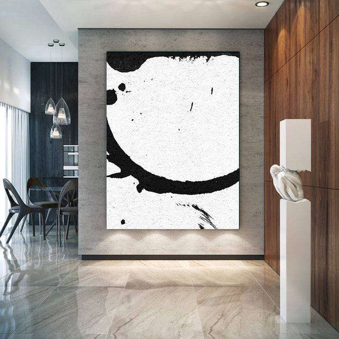Large Modern Abstract Painting, Splash Black & White Original Painting - office room