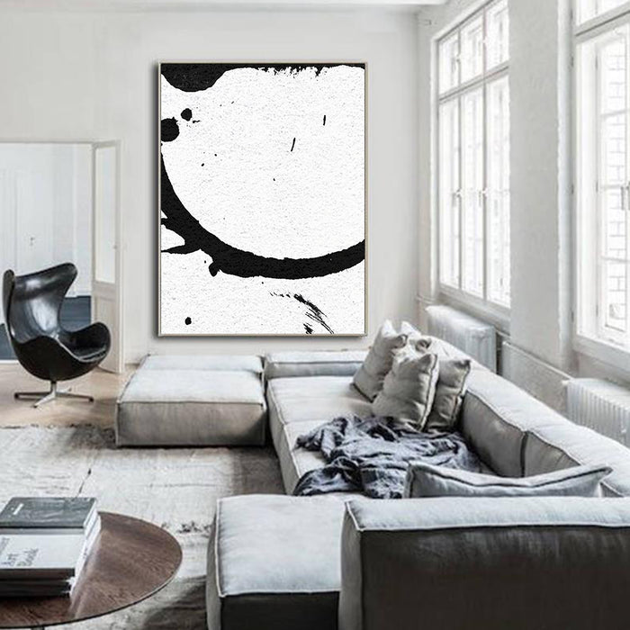 Large Modern Abstract Painting, Splash Black & White Original Painting - living room