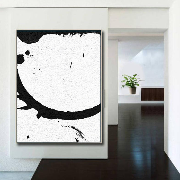 Large Modern Abstract Painting, Splash Black & White Original Painting - modern room decor