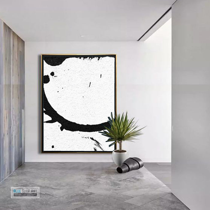Large Modern Abstract Painting, Splash Black & White Original Painting - by entrance