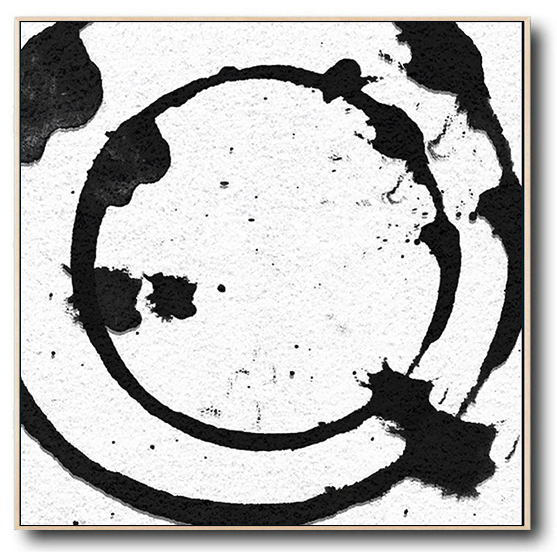 Contemporary Abstract Wall Art, Large Black and White Abstract Canvas Art Painting no.S18