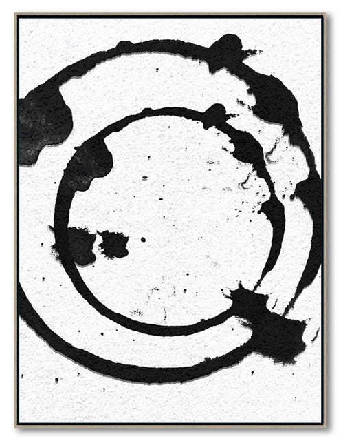 Modern Abstract Painting, Circle Splash Black & White Original Oil Painting