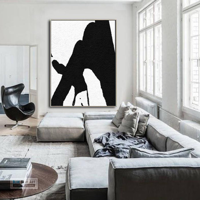 Abstract Canvas Wall Art, Original Oil Painting, Black & White Abstract Wall Art, Contemporary Modern Abstract Art Decor no.19
