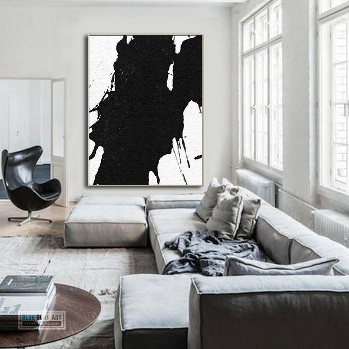 Oversized Black and White Abstract Canvas Wall Art, Original Oil Painting, Contemporary Modern Abstract Art Decor no.21