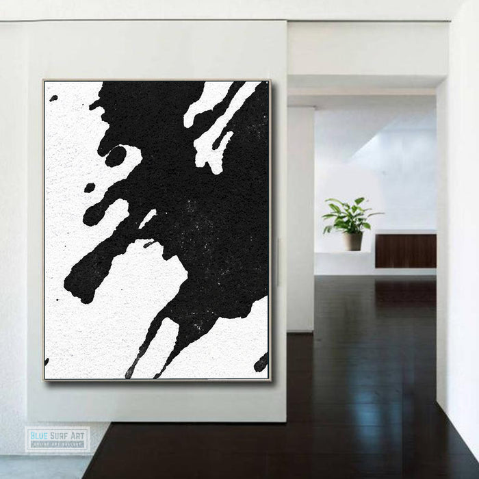 Modern Black and White Abstract Canvas Wall Art, Original Oil Painting, Living Room Wall Art DecorDecor no. 22