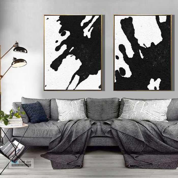 Oversized Duo Abstract Canvas Art, Original Oil Painting, Black & White Wall Art, Contemporary Modern Art Decor, Living Room Wall Decor no. 23