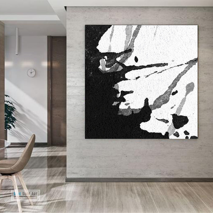 Moder Abstract Wall Art, Large Black and White Abstract Canvas Art, Living Room Wall Art Painting no. S24