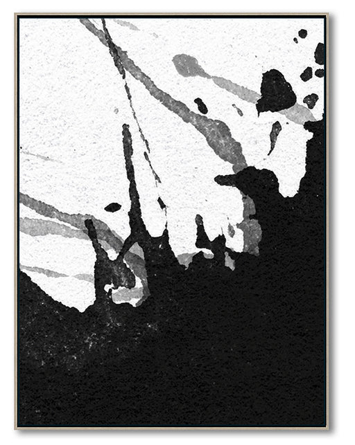 Modern Black and White Abstract Canvas Wall Art, Original Oil Painting, Living Room Wall Art Decor no. 24