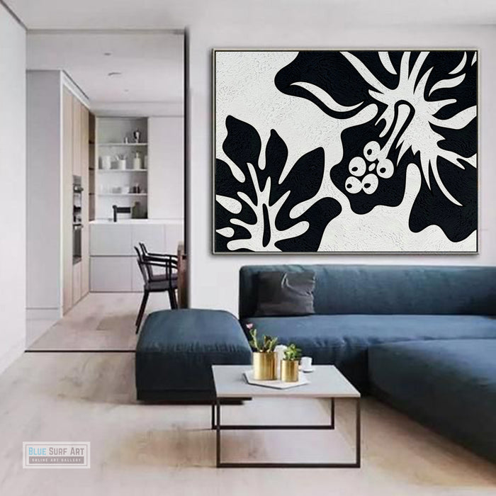 Oversized Black and White Abstract Canvas Wall Art, Original Oil Painting, Floral Living Room Wall Art Decor no. 28