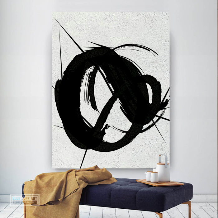 Contemporary Black and White Abstract Canvas Wall Art, Original Oil Painting, Living Room Wall Art Decor no. 29
