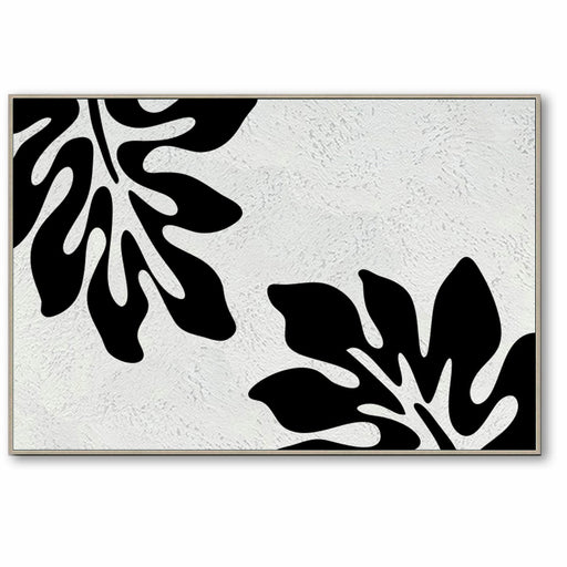 Minimalist Black and White Abstract Canvas Wall Art, Original Oil Painting, Floral Art, Living Room Wall Art Decor no. 30
