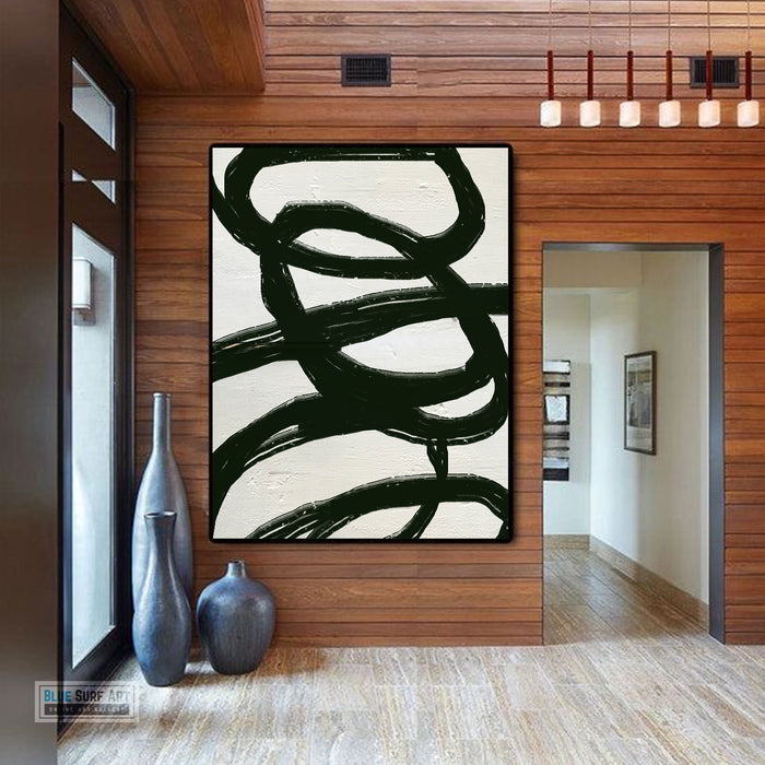 Large Modern Black and White Abstract Canvas Wall Art, Original Oil Painting, Living Room Wall Art Decor no. 31