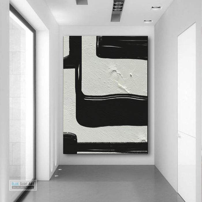 Large Black and White Abstract Canvas Wall Art, Original Oil Painting, Living Room Wall Art Decor no. 32