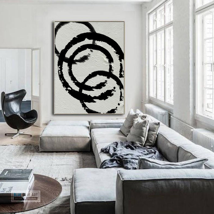 Modern Circle Abstract Canvas Wall Art, Original Oil Painting, Black and White Living Room Wall Art Decor no. 34