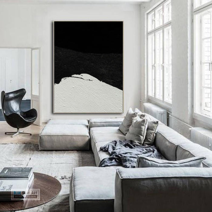 Large Minimalist Abstract Canvas Wall Art, Original Oil Painting, Black and White Living Room Wall Art Decor no. 36