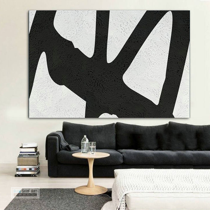 Oversized Abstract Canvas Wall Art, Original Oil Painting, Black and White Living Room Wall Art Decor no. 41