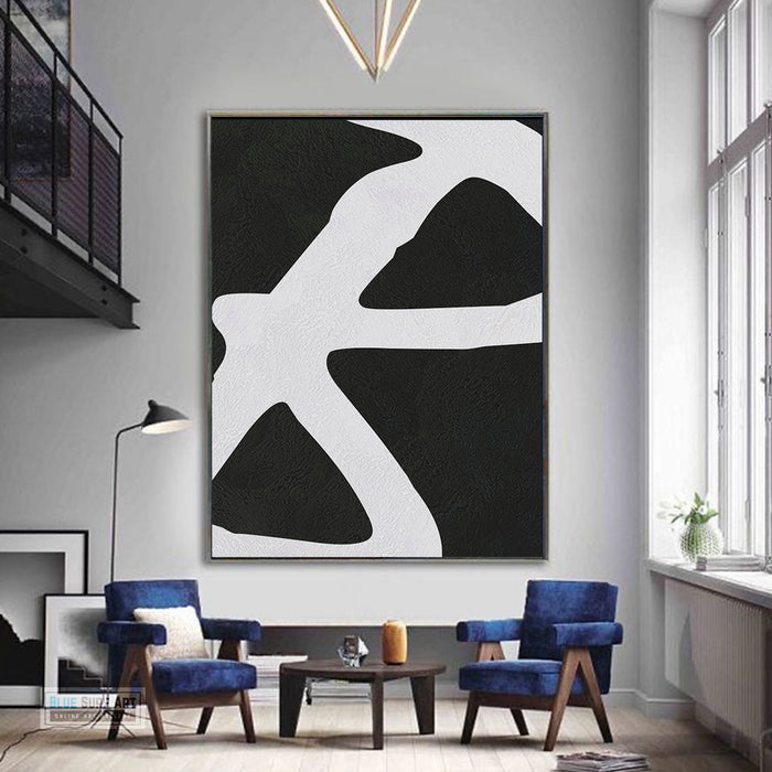 Oversized Abstract Canvas Wall Art, Original Oil Painting, Black and White Living Room Wall Art Decor no. 42