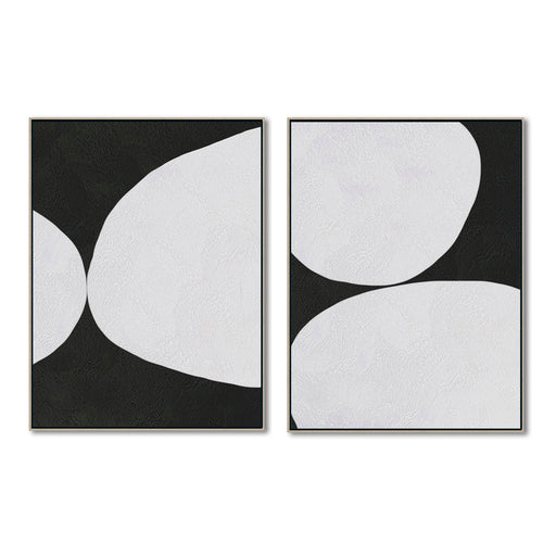 Minimalist Abstract Canvas Art, Original Oil Painting, Black & White Wall Art, Contemporary Modern Art Decor, Living Room Wall Decor no. D43