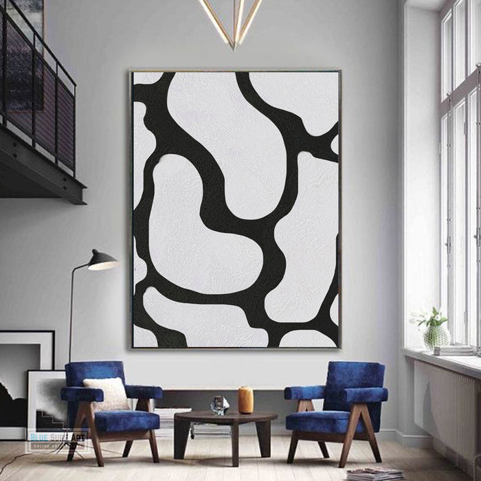 Large Abstract Canvas Wall Art, Original Oil Painting, Black and White Living Room Wall Art Decor no. 45
