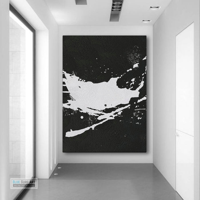 Oversized Abstract Canvas Wall Art, Original Oil Painting, Splash Black and White Living Room Wall Art Decor no. 46