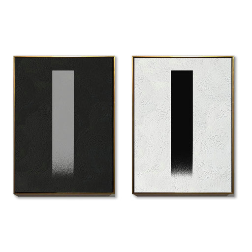 Large Duo Abstract Canvas Art, Original Oil Painting, Black & White Wall Art, Contemporary Modern Art Decor, Living Room Wall Decor
