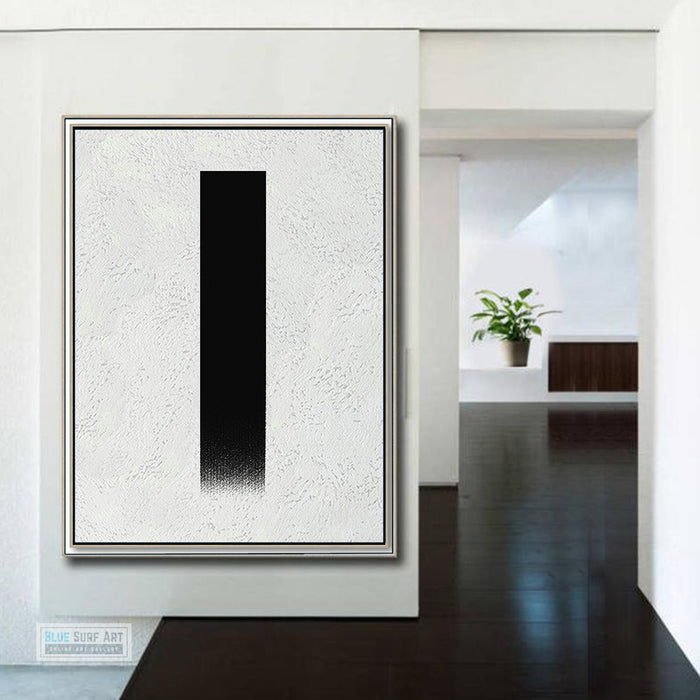Oversized Abstract Canvas Wall Art, Original Oil Painting, Minimalist Black and White Living Room Wall Art Decor no. 48